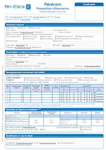 Assurance de pr t immobilier afi esca - Documents pret immobilier ...