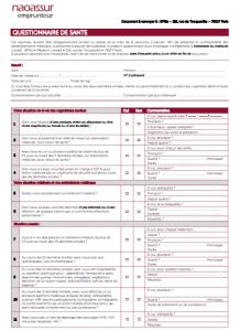 assurance pret immobilier et questionnaire de sante