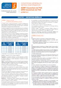 conditions générales GPM assurance pret immobilier
